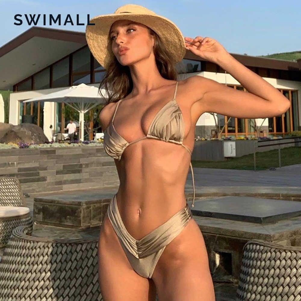 Costume da bagno Micro Pieghevole Bikini Sexy 2021 Costumi da bagno donna Halter Set brasiliano Set Triangolo Beach Wear