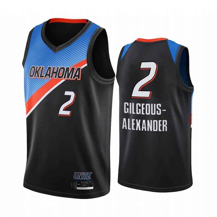 2021 \ roklahoma \ rcity \ rthundere \ r erkekler Jersey Steven Adams Shai Gilgeous-Alexander Kara Şehir Basketbol Formaları Üniforma