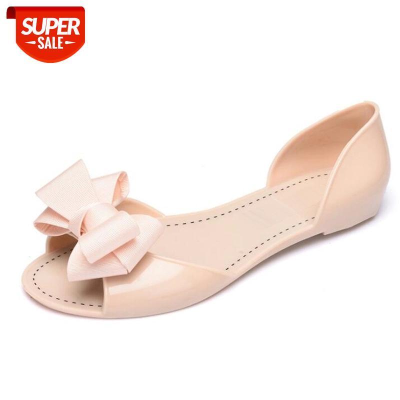 Mulheres Sandálias Novas Verão Jelly Shoes Mulheres Casual Moda Flat Butterfly-Knot Sandálias para Mulheres Tamanho 35 - 40 Drop Shipping # CA5K