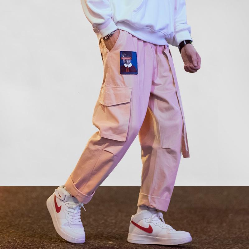 힙합화물 바지 남자 멀티 포켓 하렘 스웨트 팬츠 조깅자 남성 리본 일본 자수 캐주얼 느슨한 바지 streetwear