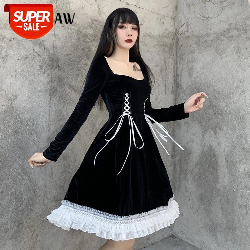 Mulheres outono inverno manga comprida quadrado colarinho retro ling lolita veludo gótico bandage vestido preto 2021 de outono # ww60