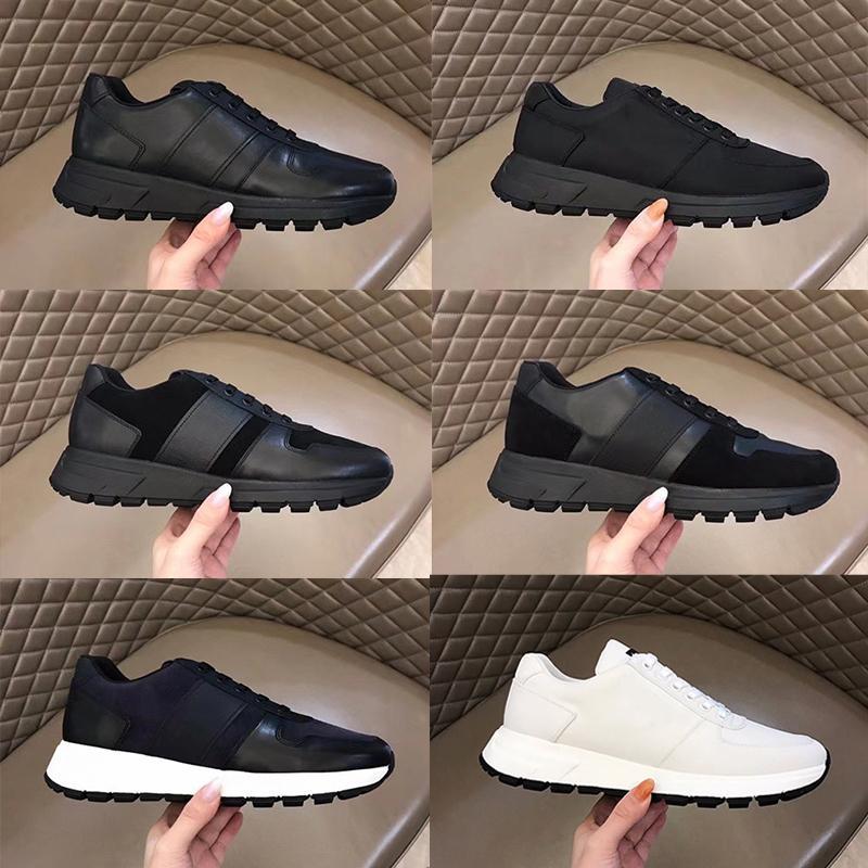 디자이너 신발 남성 Prax 01 스니커즈 진짜 가죽 플랫폼 평면 트레이너 헝겊 레이스 업 러너 통기성 캔버스 신발 고무 솔 276