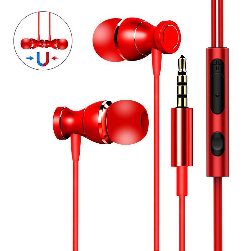 Fones de ouvido magnéticos HiFi Bass nos fones de ouvido com botão de microfone Controle para iPhone Samsung Android Smartphones