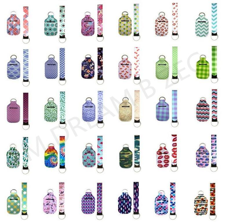 84 Farben Anpassen Neopren Hand Sanitizer Flaschenhalter Keychain Armband Schlüsselanhänger 1 Set = 2 Stück mehrere Stile mit Set Tauchmaterial Schlüsselanhänger