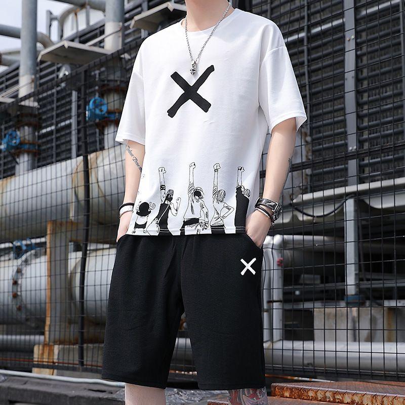 Men's short tracksuit sleeved T-shirt 2021 summer tiktok ice cream trend two sets of vibrato leisure sports suit men
