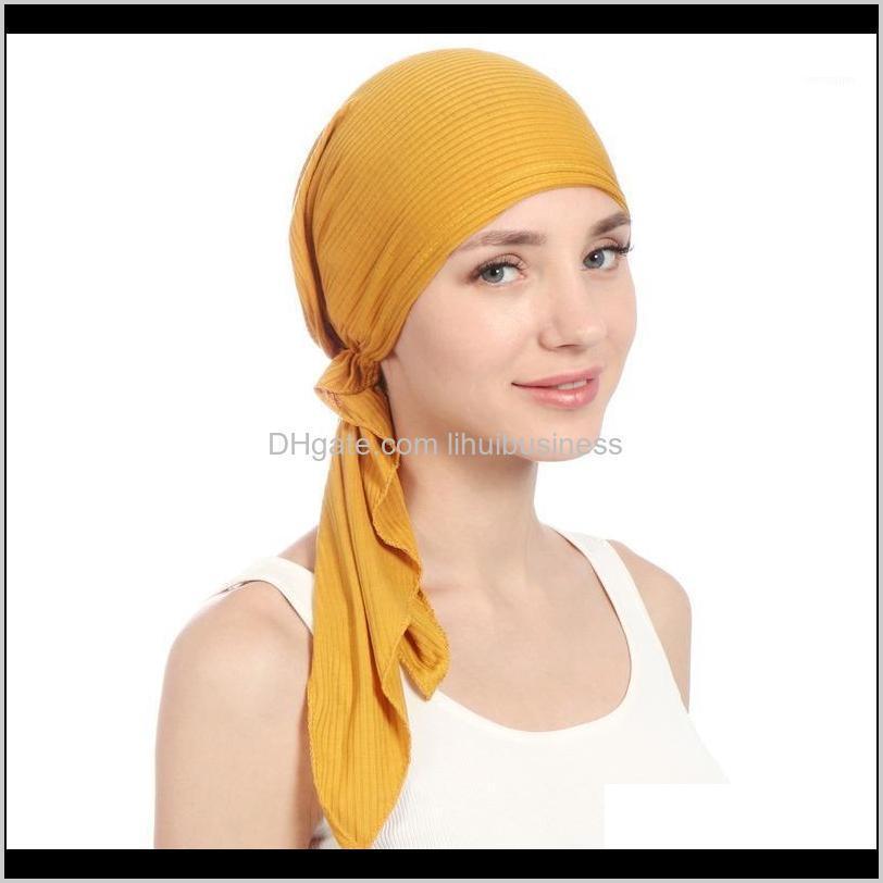 Bere / Kafatası Kapaklar Şapka, Atkılar Eldiven Tatihi Elastik Pamuk Katı Renk Wrap Kafa Eşarp Şapkalar Müslüman Türban Bonnet Kadınlar Için İç Şapka F