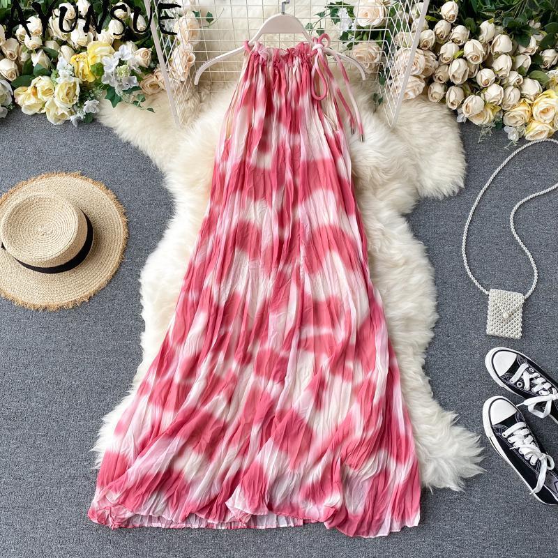 Yaz Kadın Elbise Plaj Backless Kadın Giyim Çiçek Kolsuz Vestido Casual Sukienki Damskie için Elbiseler