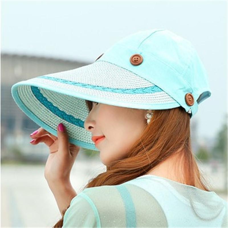 Sun Hat السيدات واسعة بريم سترو المرأة واسعة كبيرة بريم مرن الصيف شاطئ شمس قبعة سترو قبعة زر كاب الصيف القبعات للنساء 210323