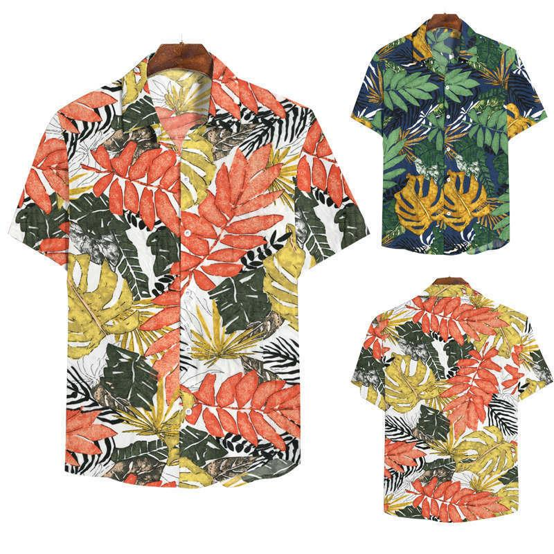 Случайные мужские лето расслабленные моды с коротким рукавом рубашка