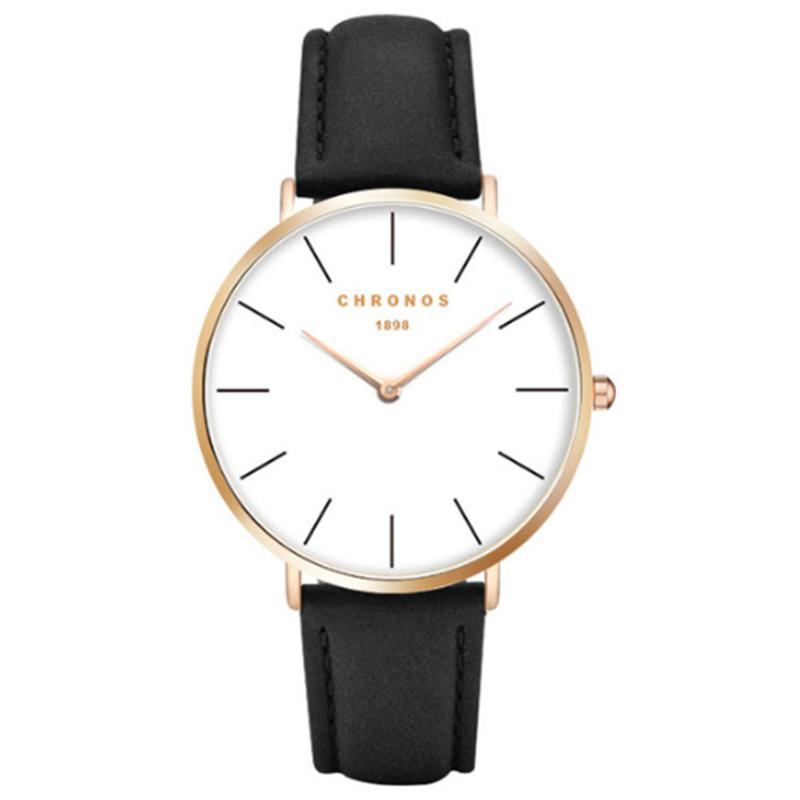 Wristwatches Luxury Watch Men CHRONOS Unisex Quartz Wristwatch Top Brand Black Leather Strap Male Female Clock Watches Women 2021