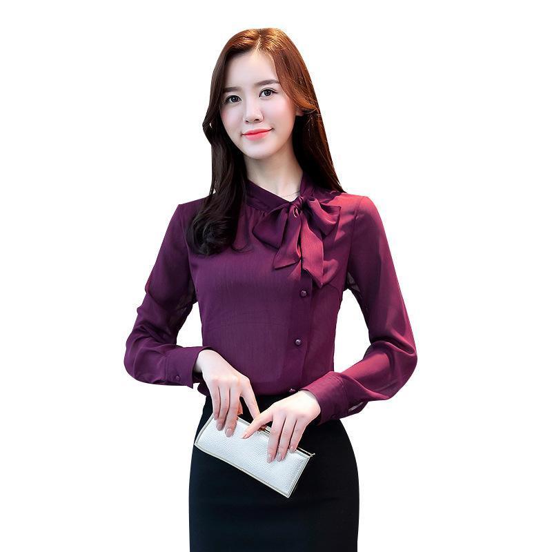 Yay Boyun kadın Giyim Bahar Uzun kollu Şifon Kadın Bluz Gömlek Katı Mor Resmi Blusas Bluzlar Gömlek Tops