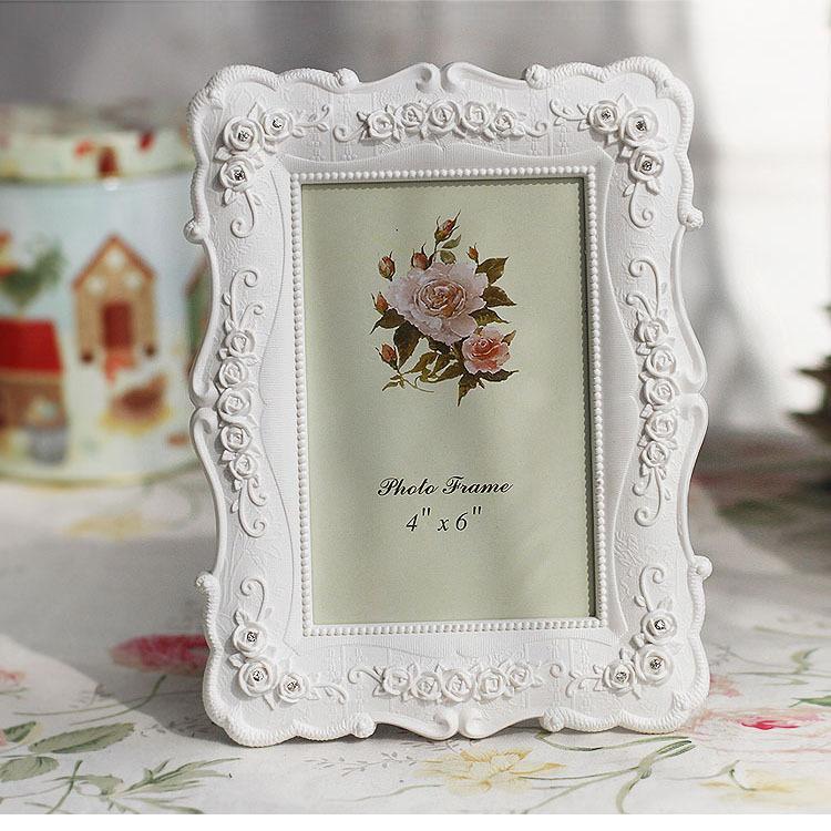 Weiße Harz Fotorahmen Vintage-Bild Malerei Rose Blumenrahmen Wohnzimmer Wohnkultur Geschenk 6 7 8 10 Zoll