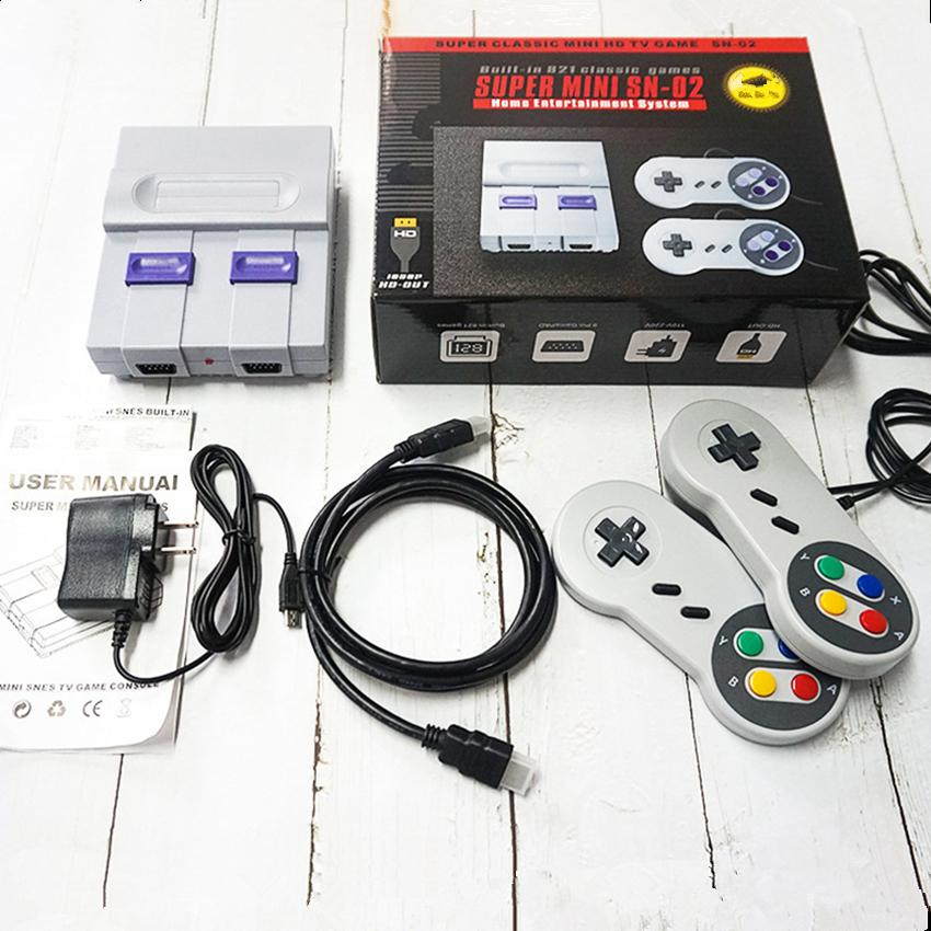 HD TV Video Game Players SUPER Mini SN02 Player for SNES 8-bit SFC Games Built-in 821 Games Classic Retro HDTV Game Console