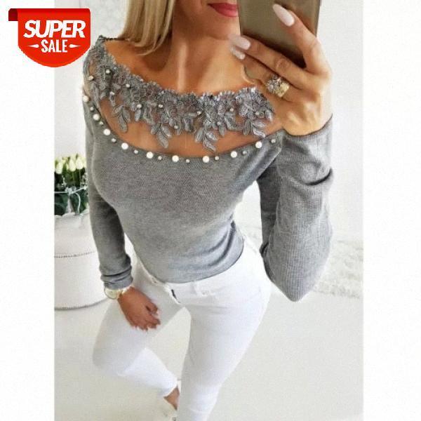 Mulheres blusas moda pérola floral slash pescoço manga comprida blusa casual fora camisas de senhoras e tops femininos # ul9f