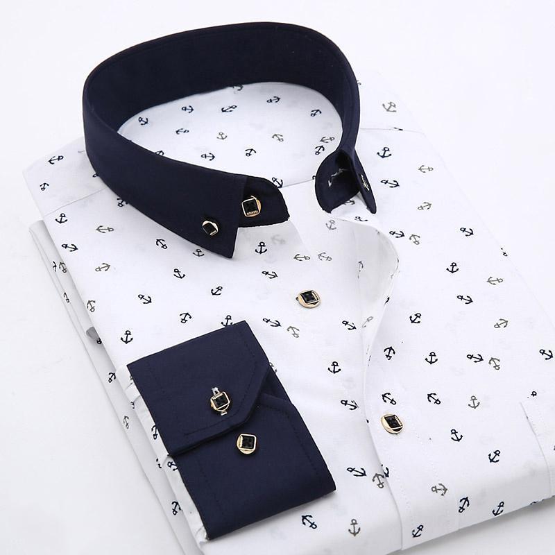패치 워크 칼라 꽃 남성 캐주얼 셔츠 패션 긴 소매 인쇄 슬림 피트 소프트 포켓 4XL 남성 드레스 캐미 마스 홈 브레 셔츠