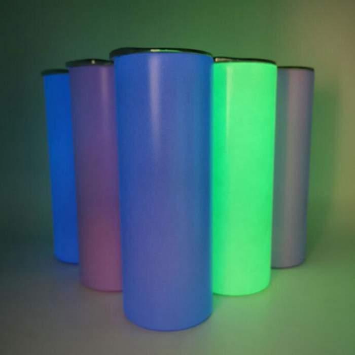 DIY Sublimação Caneca Caneca Fulgor nas canecas escuras 20oz copo magro direto com tinta luminosa Luminous1 copos de viagem mágica LXL