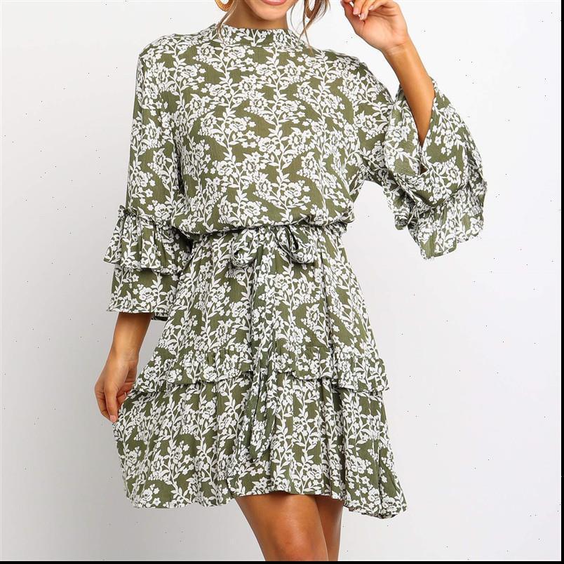 ArmyGreen Çiçek Baskı Sonbahar Bayan Elbiseler 3 4 Kollu Ruffles Boho Beach Şifon Mini Standı Yaka Sashes Rahat