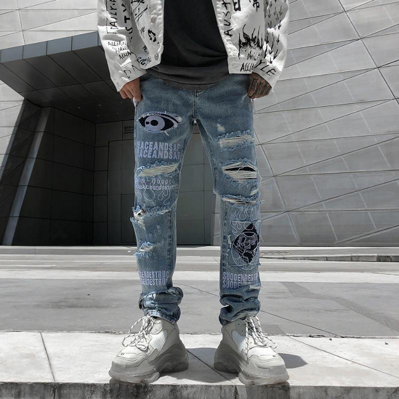 Buco frayed mens jeans pantaloni hip hop waving streetwear denim tattico patchwork hombre strappato per gli uomini uomini