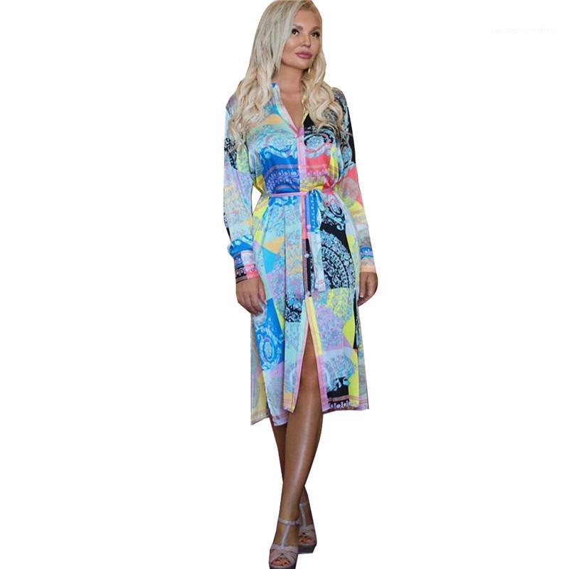 Sleeves Casual Dress Famale Designer Clothing Womens Printed Lapel Dress Spring Fashion Slim With Belt Long