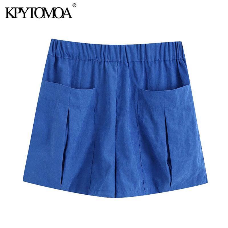 Mujeres 2021 Bolsillos de moda elegantes Pantalones cortos sueltos Vintage Alto Elástico Cintura Femenino Pantalones cortos Pantalones Cortos Mujeres