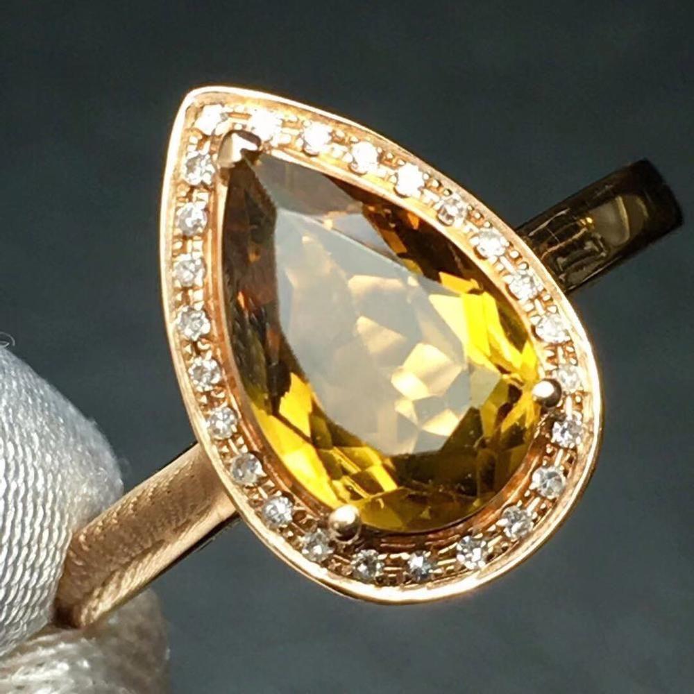 Bague de mode 1.5ct Bijoux Pure 18 K Bijoux en or Bijoux Naturels Jaune Tourmaline Diamonds Femmes Pour Femmes Anneaux raffinés N1