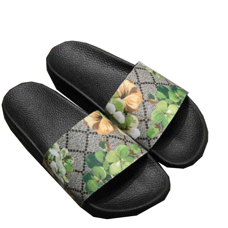 المطاط منصة النعال الصنادل الأحذية الأزهار المطبوعة رجل إمرأة زحافات شبشب الصيف النساء صندل الشرائح مع مربع