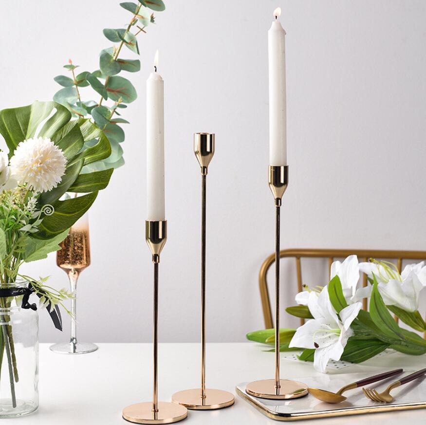 Tenedor de velas de metal de lujo con candelabro de lujo con vela de boda stand exquisito candelabro candelabra mesa decoración casera 3 unids / set