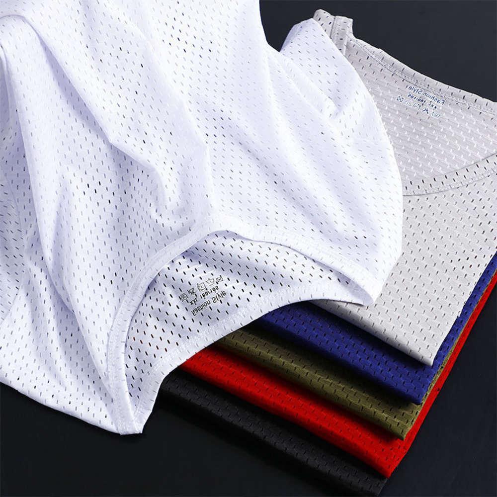 티셔츠 여름 남성용 짧은 티셔츠 얼음 망한 통기성 빠른 건조 스포츠 중공 out 큰 반 슬리브 슬림 맞는 트렌드 얇은 얇은