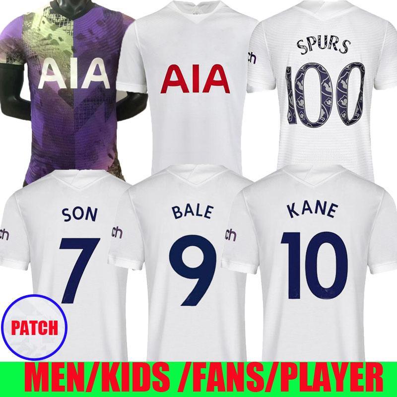 لاعب الإصدار 21 22 Kane Son Bale Soccer Jerseys Tottenham Home 2021 2022 Dele Football Shirt Ndombele Lucas Lamela Vinicius Men Kids Kit طبعة خاصة 100 طباعة