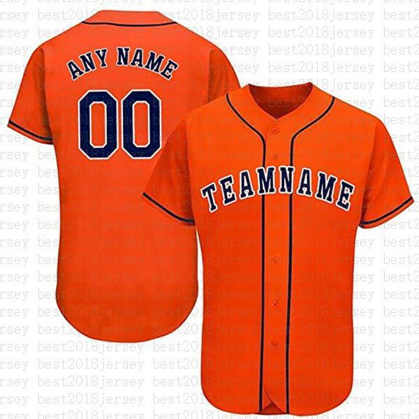 مخصص هيوستن الجدة زر أسفل البيسبول الفانيلة شخصية مراوح قميص للرجال تيماني الاسم والعدد للهدايا مخيط البرتقال