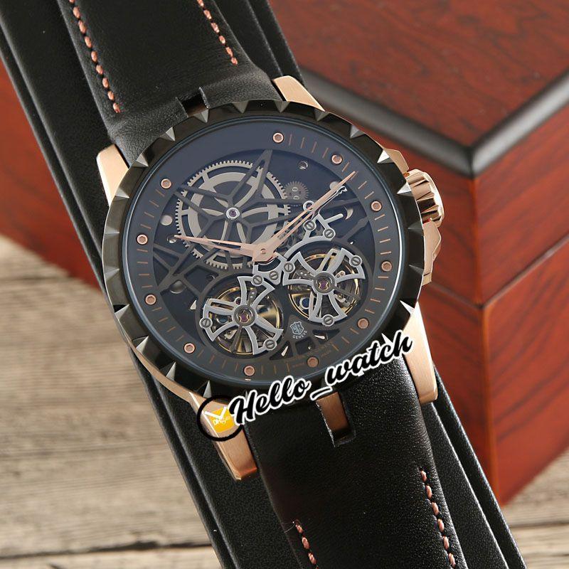Excalibur 46 Uhren Automatische Double tourbillon rddbex0795 Herrenuhr Skeleton Zifferblatt Zwei Ton Rose Gold Etui Schwarz Leder Weiß Orange Linie HWRD Hello_Watch