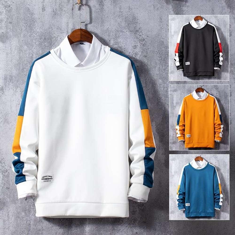 Sweat-shirt pour hommes 2021 Printemps et automne Nouveau Mens Sweats à capuche à col rond coréen Mode Jeunesse Pull Couple Top