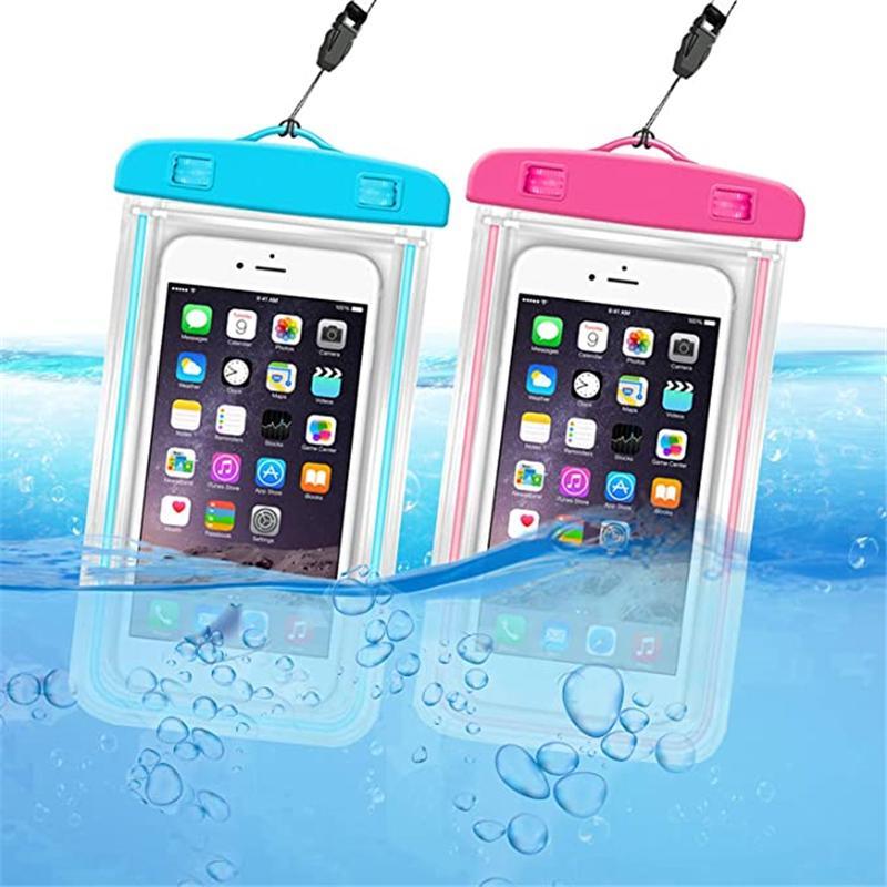 الحالات Noctilucent للماء PVC واقية حقيبة الهاتف المحمول حقيبة الحقيبة لغس السباحة الرياضية آيفون 12 6 7 زائد s6 s7 note7