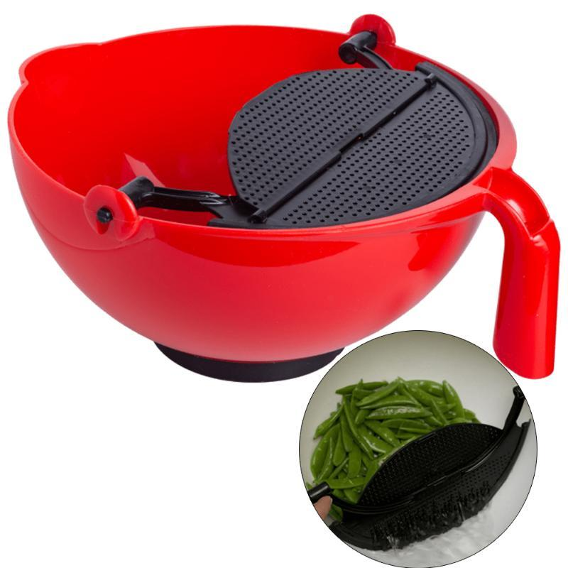 Bol de mélange multifonctionnel avec cloison de la salade en plastique fruit de cuisine de cuisine ustensile pour cuisson de cuisson bols