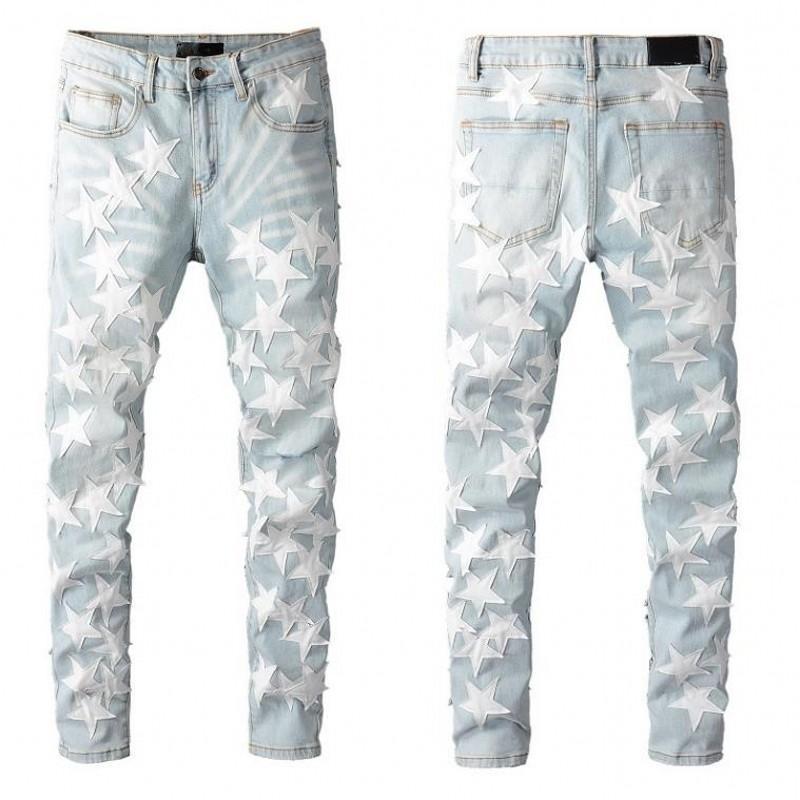 Uomo Distressed Strappato Biker Jeans Slim Fit Moto Denim per Moda Hip Hop Mens Jean Jean buona qualità