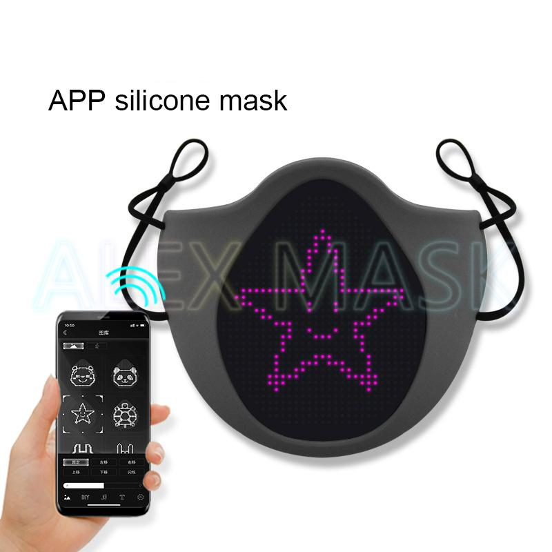 LED face mask display screen bluetooth luminous silicone ear band bar nightclub riding personality fashion faceshield
