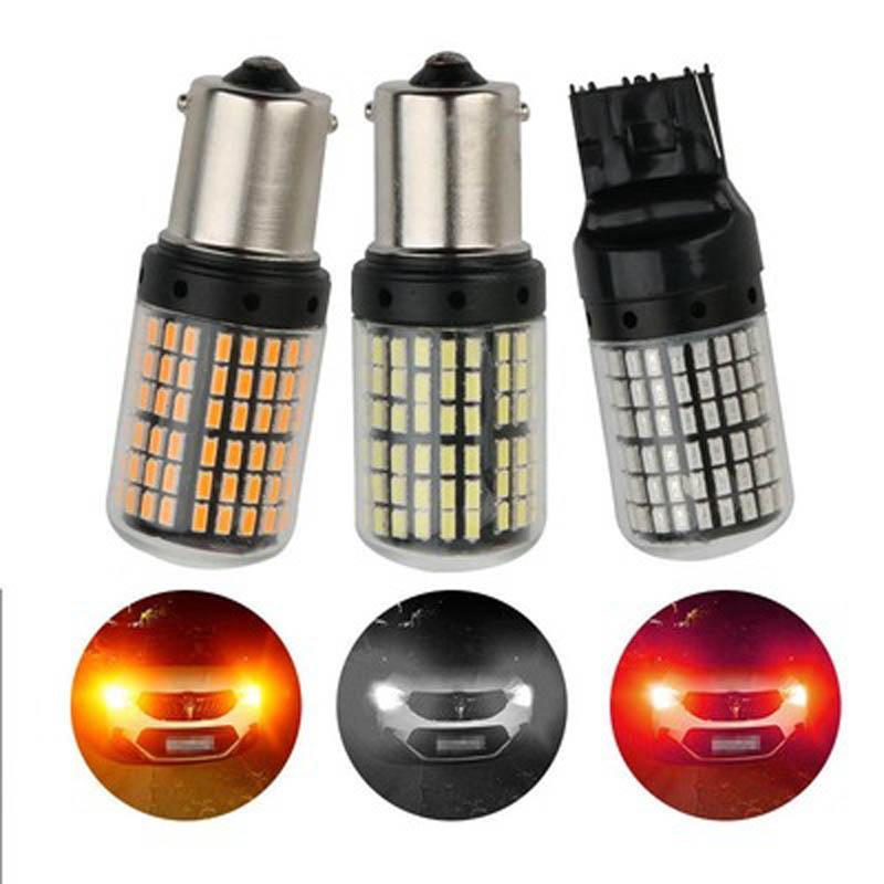 2X 144SMD LED سيارة Canbus S25 1156 BA15S P21W BAAU15D BAU15S PY21W مصباح T20 7440 W21W W5W 1157 المصابيح بدوره إشارة عكس ضوء الفرامل