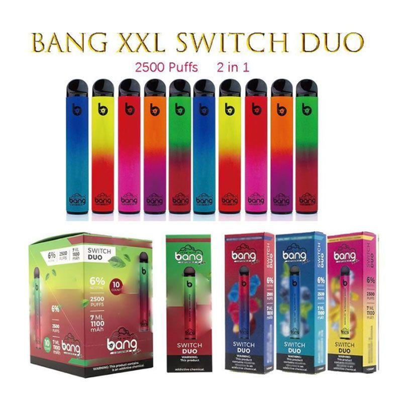 Bang XXL Switch Duo Cigarrillos desechables 2IN1 2500 Puffs 7ml 1100mAh 6% Vainas de aceite 8 colores VS RANDM Pro Dazzle Barra de aire Max Puff Plus Flow Flum Float