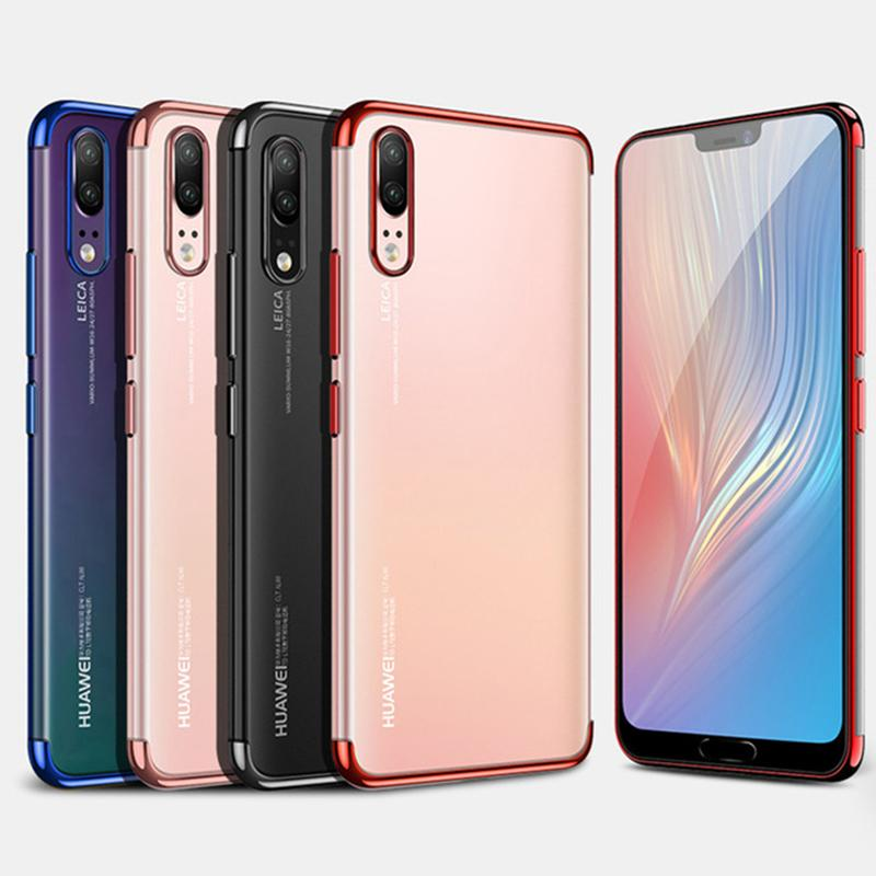10pcs Ultra Thin Clear Plating Case For Huawei P40 P30 Pro P20 Mate 30 Lite 20 X Transparent Electroplating Soft Silicone Cover