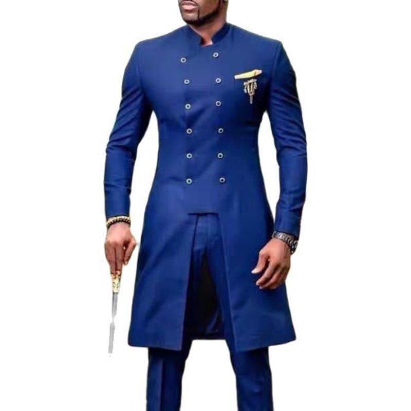 Primavera / Autunno Ultimo cappotto Dubai Africa Designs Blazer Due pezzi Set Stuxedos Terno High Neck Business Uomini Suits per matrimonio 2021 BLA da uomo