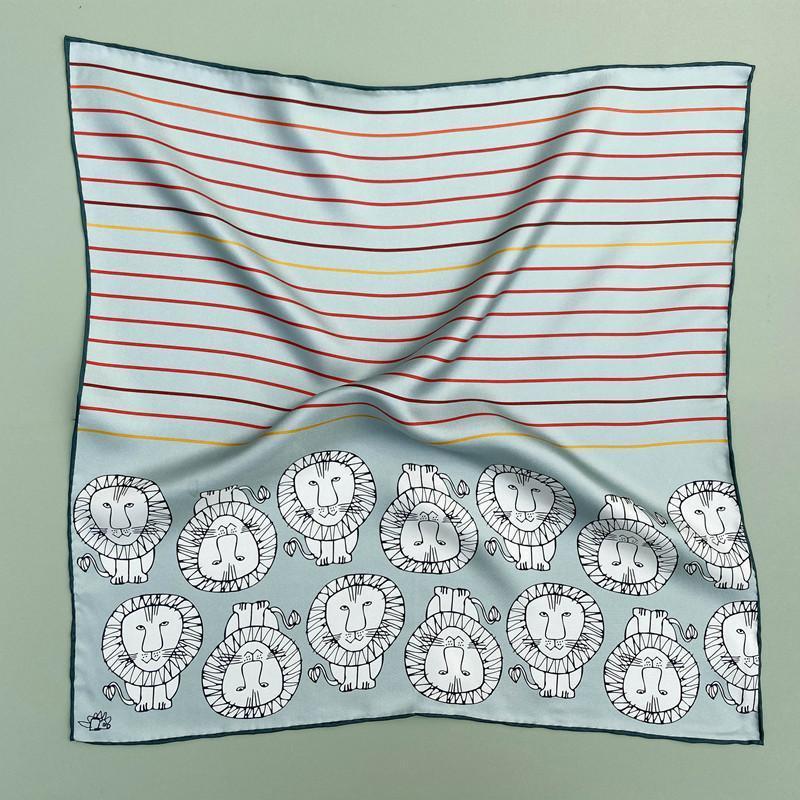 53 * 53cm 패션 크리 에이 티브 만화 실크 스카프 여성의 봄과 여름 장식 전문 스카프