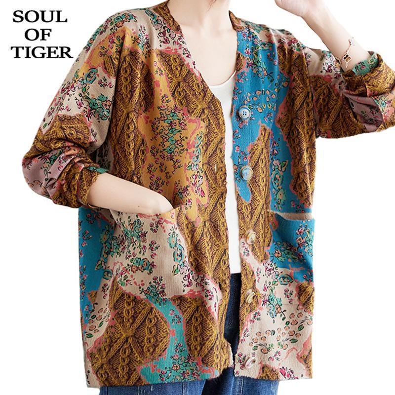 여자의 니트 타이거의 티셔츠 영혼 가을 2021 꽃 빈티지 V 넥 카디건 여성 느슨한 캐주얼 싱글 브레스트 스웨터 숙녀 Harajuku C