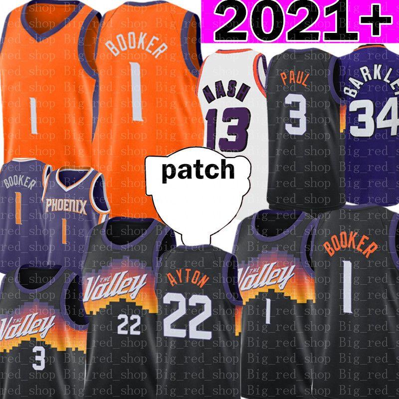 1 Devin Jersey Booker Basketbol Formaları DeAndre 22 Ayton Chris 3 Paul Formalar Retro Mesh Steve 13 Nash Charles 34 Barkley 2021 Yama Siyah Mor Turuncu Beyaz