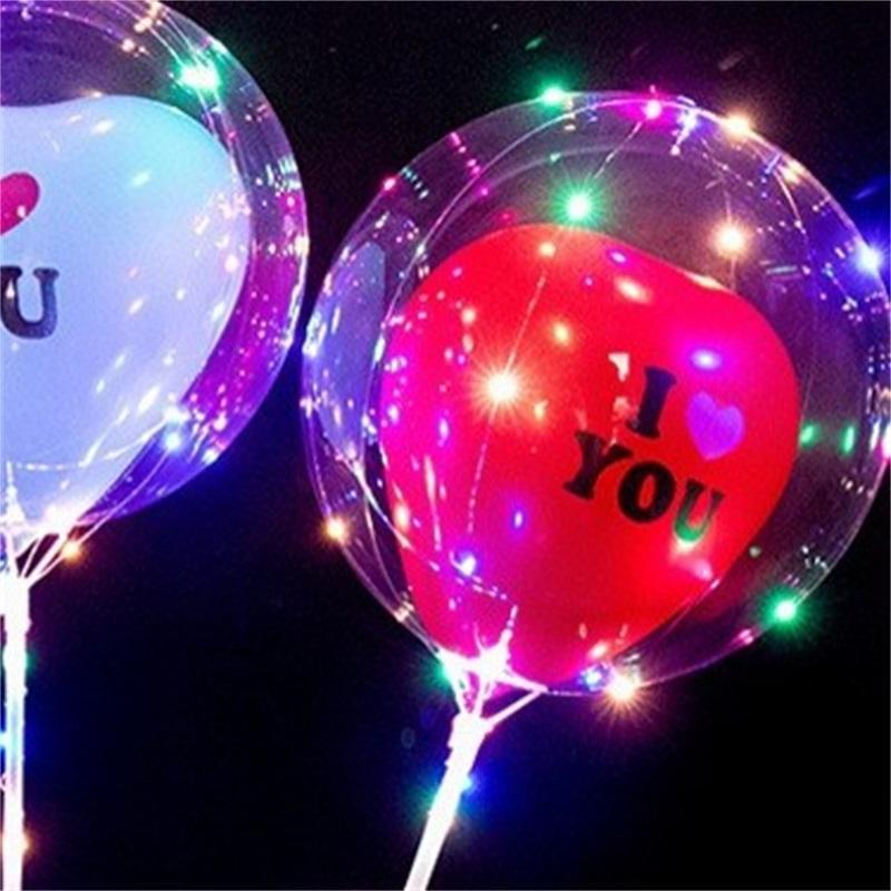 2020 LED-Liebes-Herz Bobo-Kugel Valentinstag Geschenke LED leuchtendes Licht ballon transparenter Luftballon für Hochzeits-Party-Startseite 231 K2