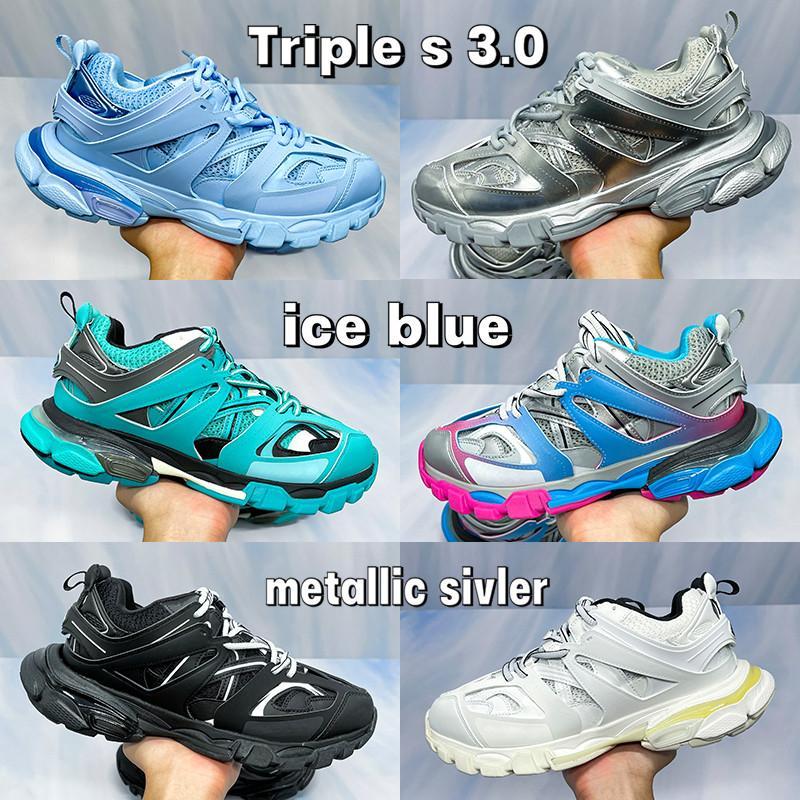 Top Quality Paris Triple S 3.0 Plataforma para hombre Running Shoes Hielo Azul Metálico Sivler Negro Blanco Amarillo Gris Pink Rosa Hombres Mujeres Zapatillas de deporte