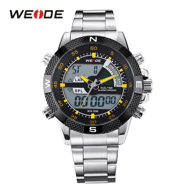 Armbanduhren Weide mannuhren Mode Quarz Uhr Gold Grün Edelstahl Armbanduhr Datum Männliche Uhr Relogio Masculino