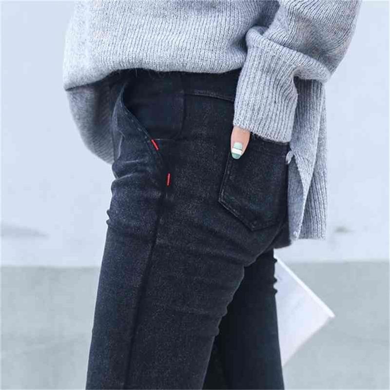Jeans Skinny Woman New Primavera Fashion Boyfriend Lavado Lavado Denim Pantalones Lápiz Slim Capris Pantalones Imitación Jean Femme 210322