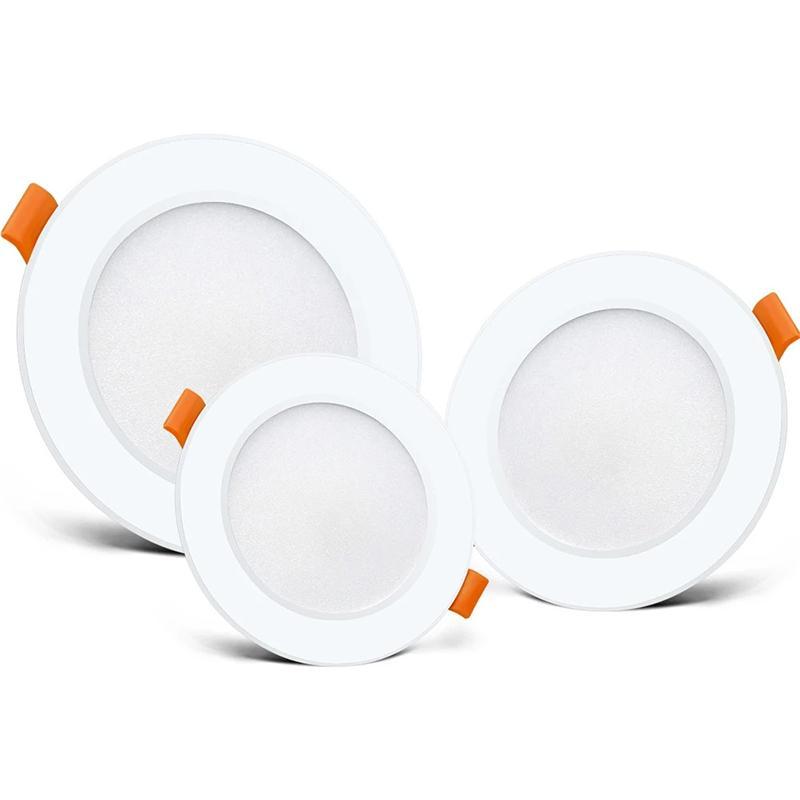 Branco LED Downlight Recesso Luzes do Painel Interior Luzes 6W 9W 12 W 18W AC85-265V Lâmpada de mancha de teto para sala de estar Barra de barra de foyer