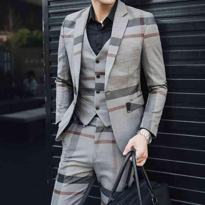 5XL Robe formelle Grey Mens de laine Mens costumes Mens Vintage Cuisson Plaid 3 Pièces Combinaison Hommes Heren Kostuums 3 Delig Trajes Formeres de Hombre