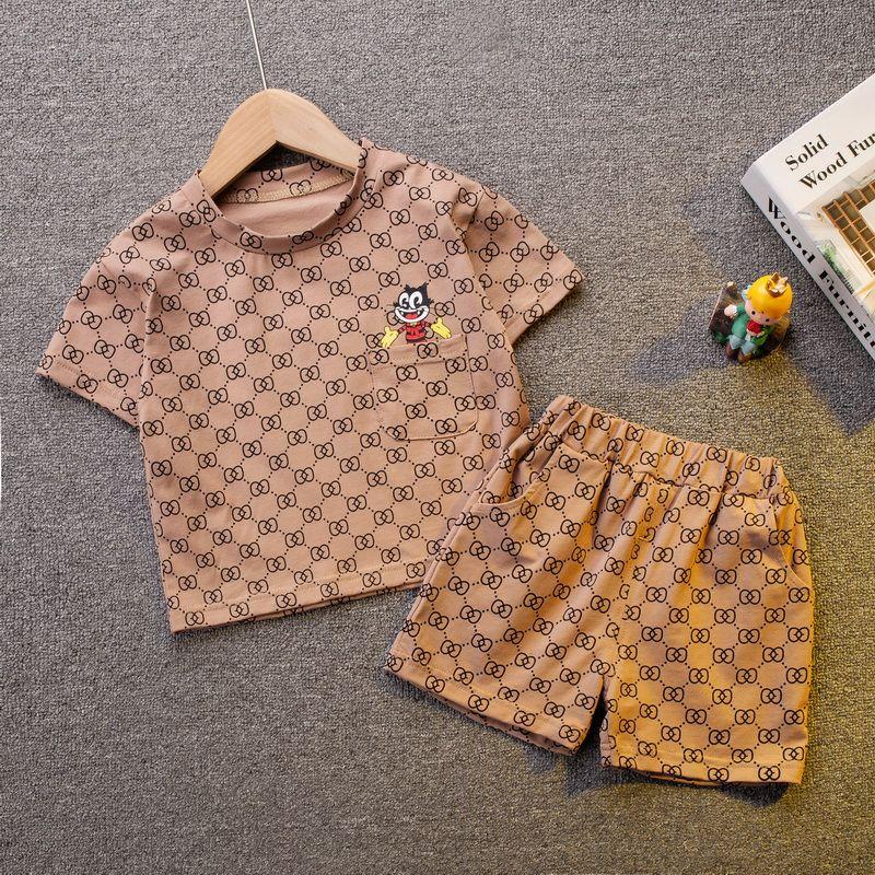 0-5 Yıl Yaz Erkek Giyim Seti 2021 Yeni Rahat Moda Aktif Karikatür T-shirt + Pantolon Çocuk Çocuk Bebek Yürüyor Boy Giyim